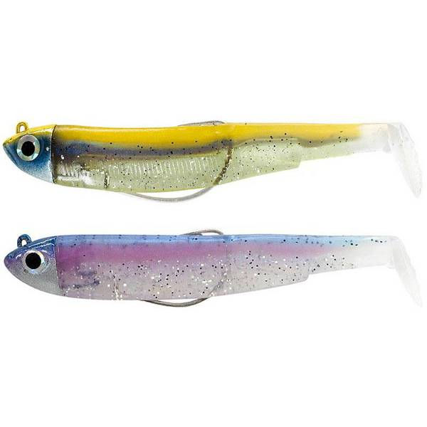 Leurre Souple Double combo Shore Black Minnow 90 Rainbow/Or-Bleu Fiiish